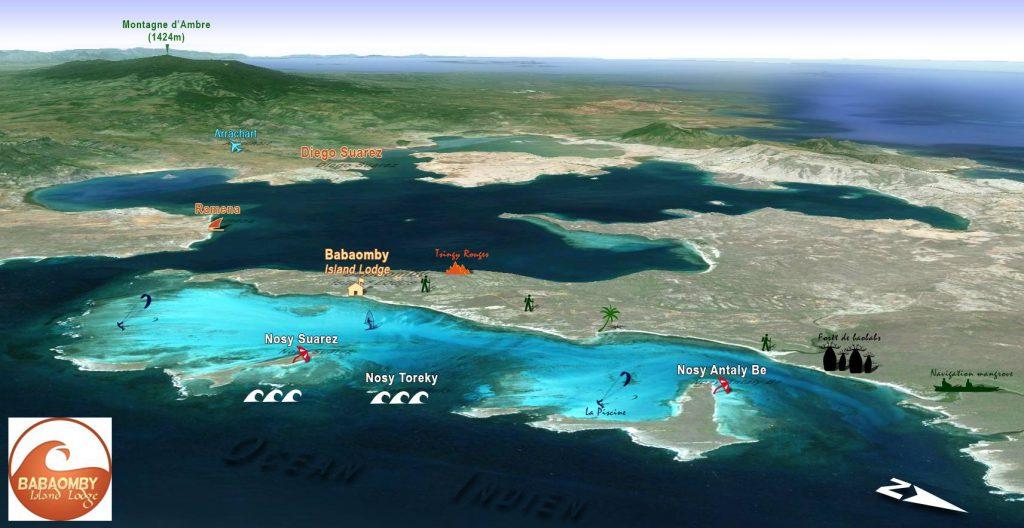 Carte des spots de kite et windsurf à Babaomby Madagascar