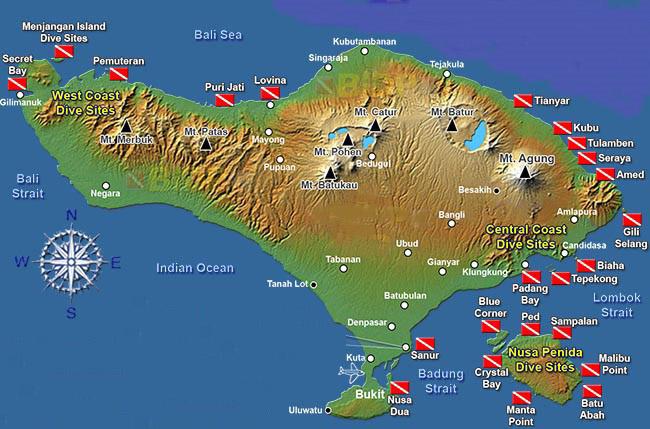 Carte Bali - Spots d'Evasion